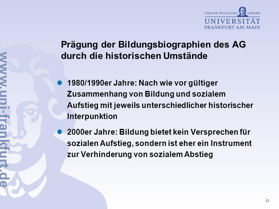 Prägung der Bildungsbiographien des AG durch die historischen Umstände