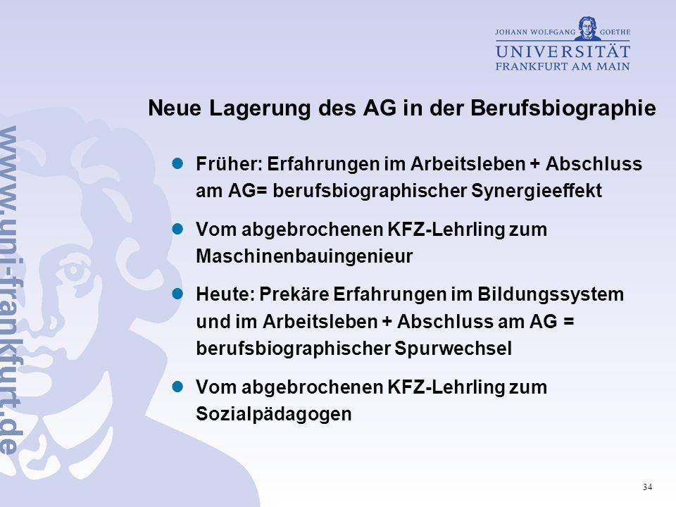 Neue Lagerung des AG in der Berufsbiographie