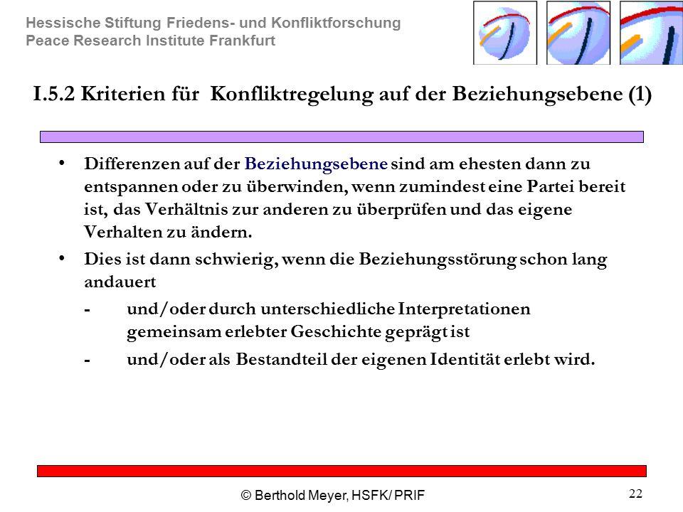 I.5.2 Kriterien für Konfliktregelung auf der Beziehungsebene (1)