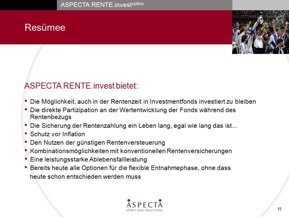 Resümee ASPECTA RENTE.invest bietet: