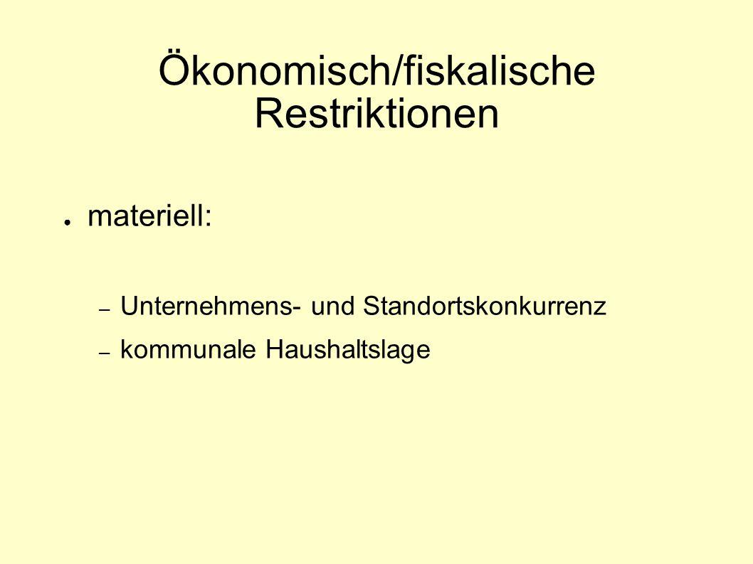 Ökonomisch/fiskalische Restriktionen