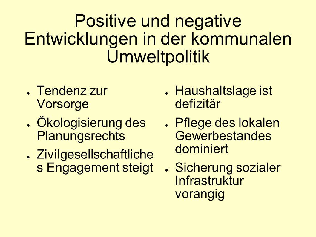 Positive und negative Entwicklungen in der kommunalen Umweltpolitik