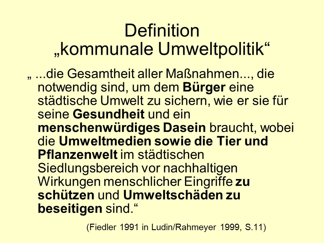 "Definition ""kommunale Umweltpolitik"