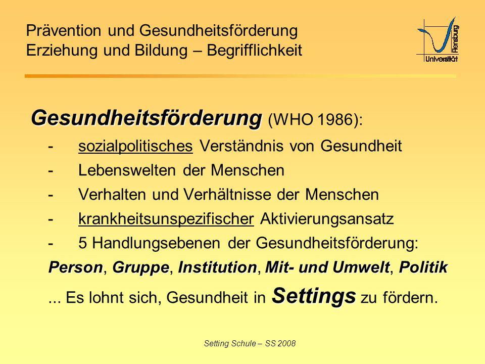 Gesundheitsförderung (WHO 1986):