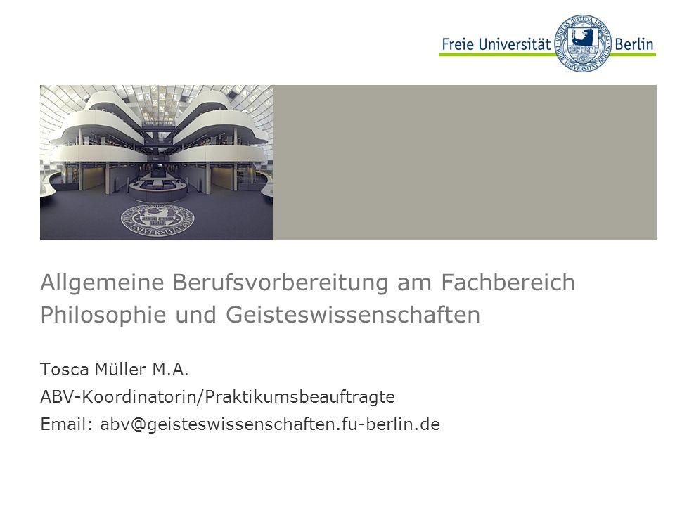 Allgemeine Berufsvorbereitung am Fachbereich Philosophie und Geisteswissenschaften