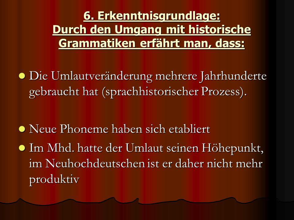 6. Erkenntnisgrundlage: Durch den Umgang mit historische Grammatiken erfährt man, dass: