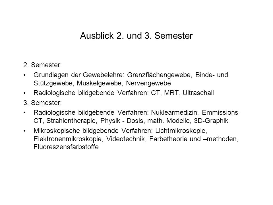 Ausblick 2. und 3. Semester 2. Semester: