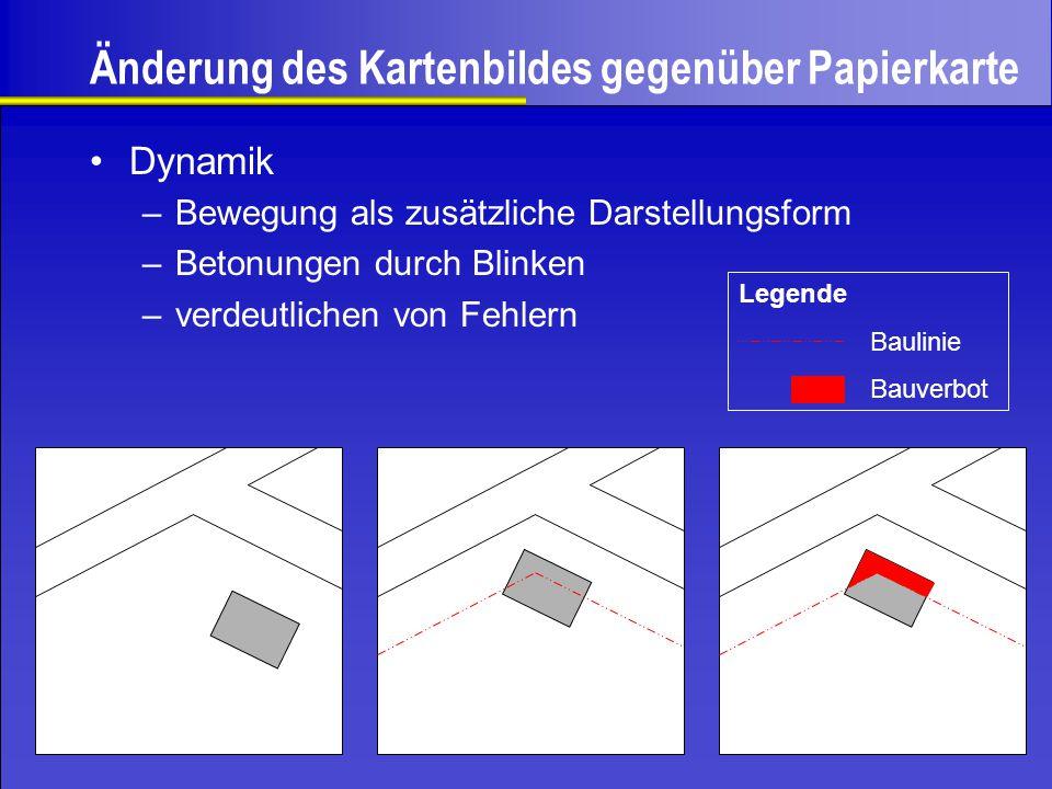 Änderung des Kartenbildes gegenüber Papierkarte