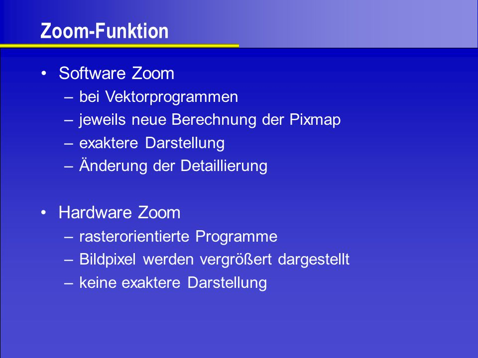Zoom-Funktion Software Zoom Hardware Zoom bei Vektorprogrammen
