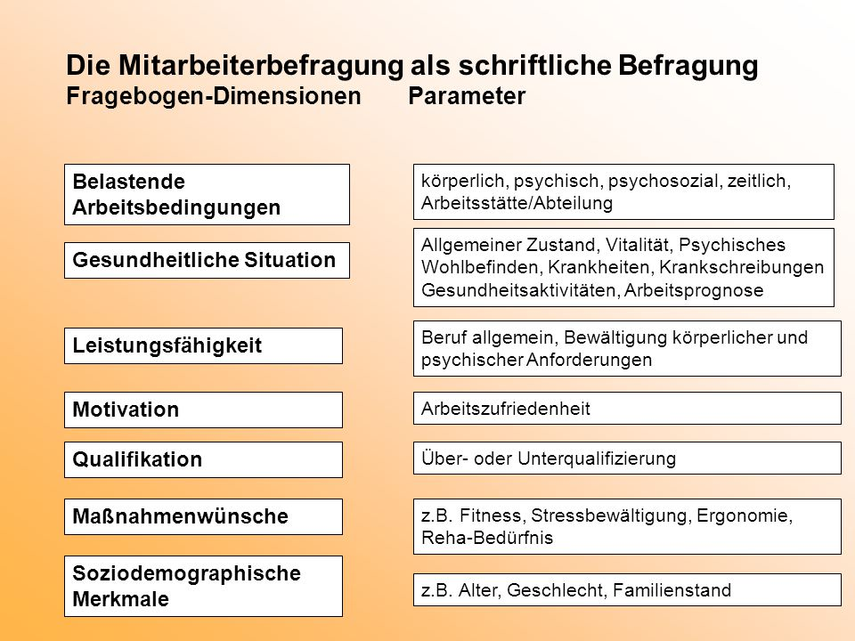 Die Mitarbeiterbefragung als schriftliche Befragung Fragebogen-Dimensionen Parameter