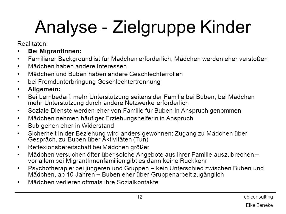 Analyse - Zielgruppe Kinder