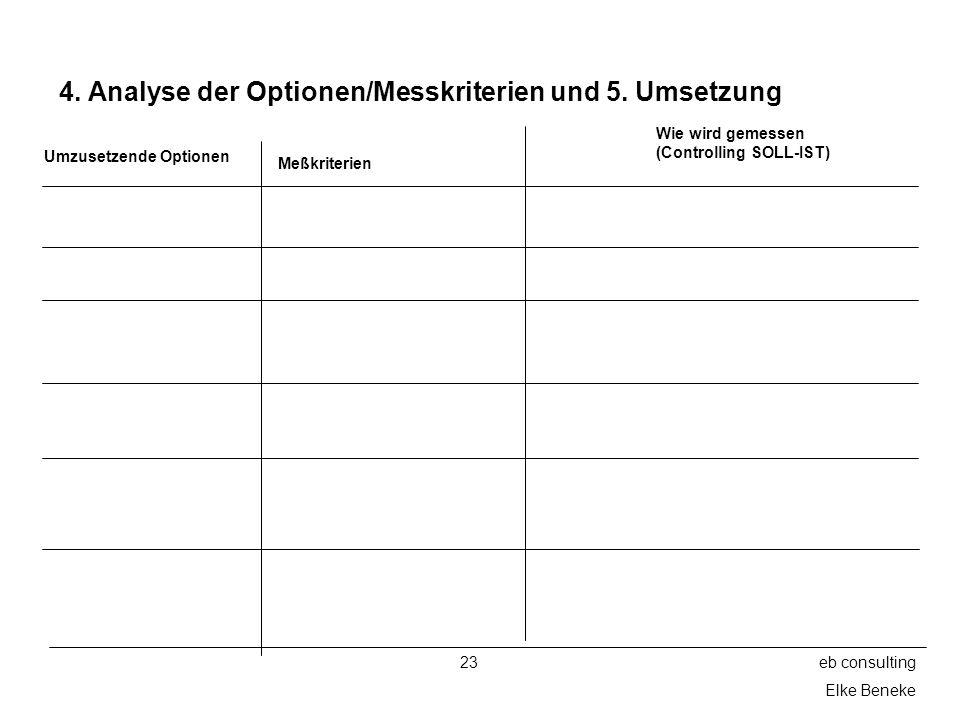 4. Analyse der Optionen/Messkriterien und 5. Umsetzung