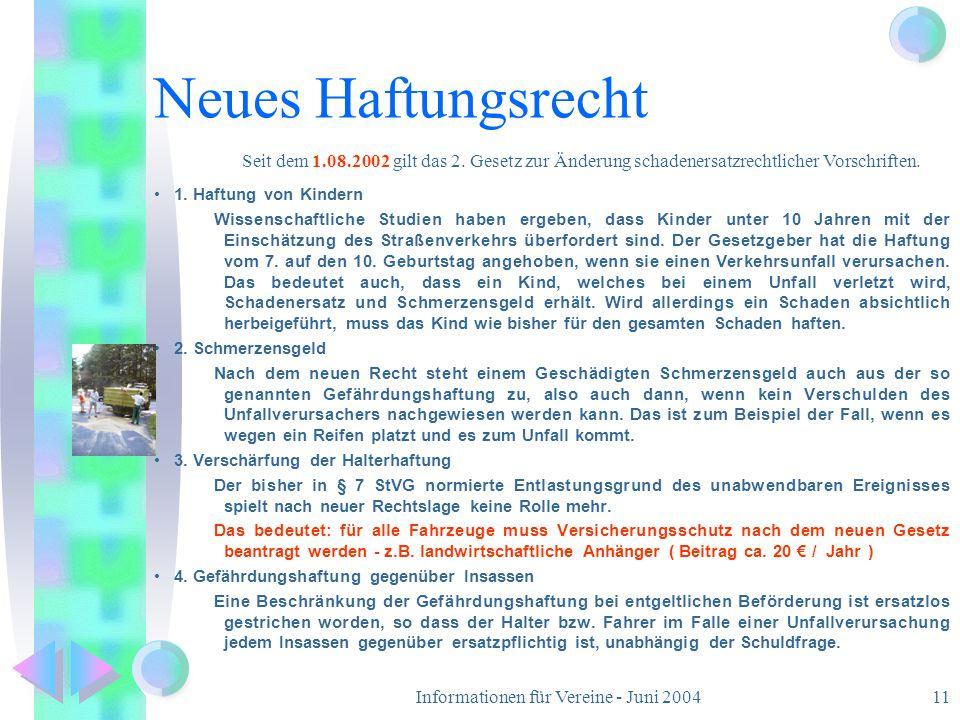 Informationen für Vereine - Juni 2004