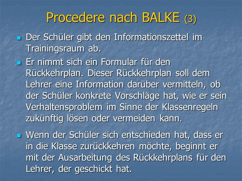 Procedere nach BALKE (3)