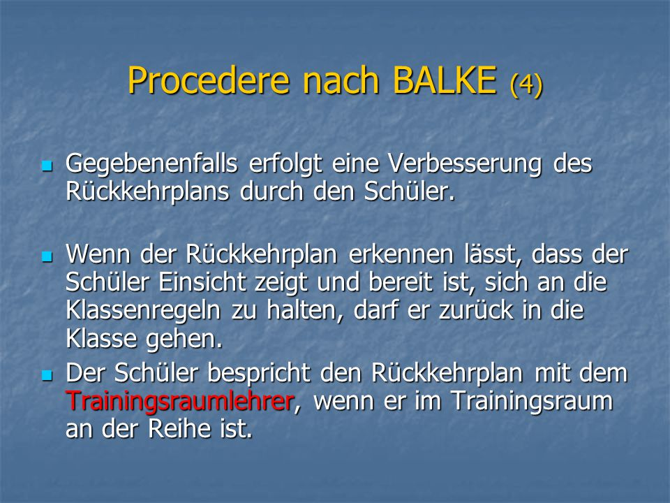 Procedere nach BALKE (4)
