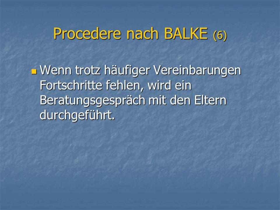 Procedere nach BALKE (6)