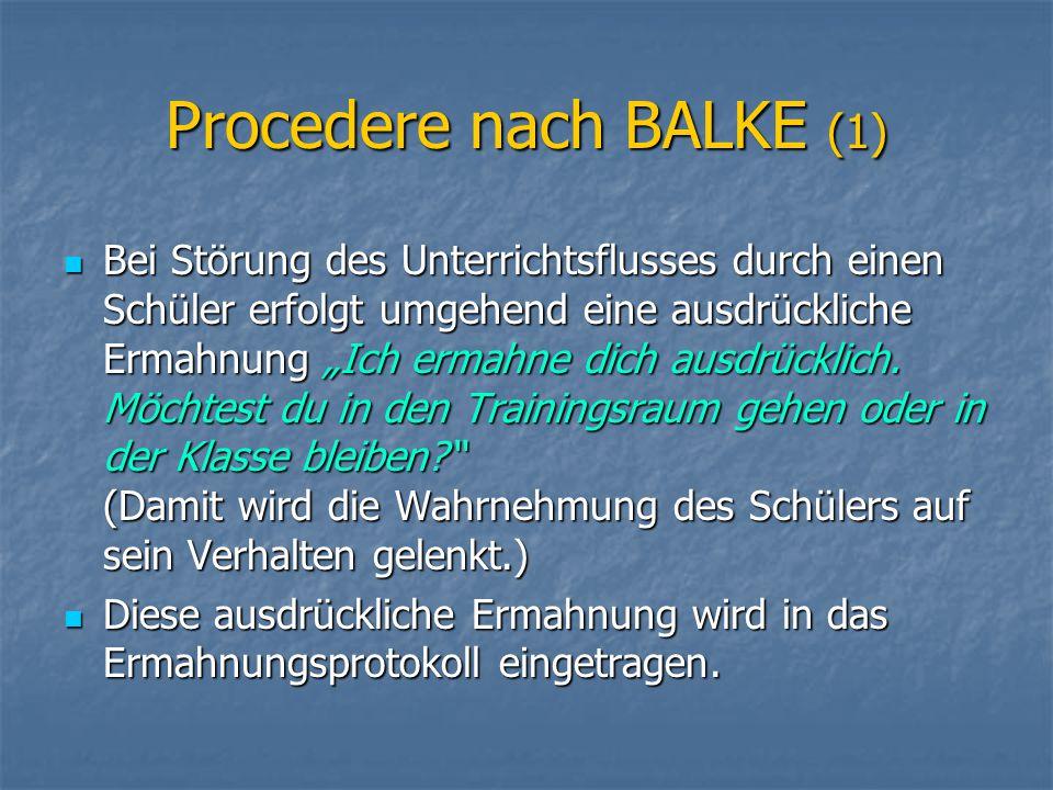Procedere nach BALKE (1)