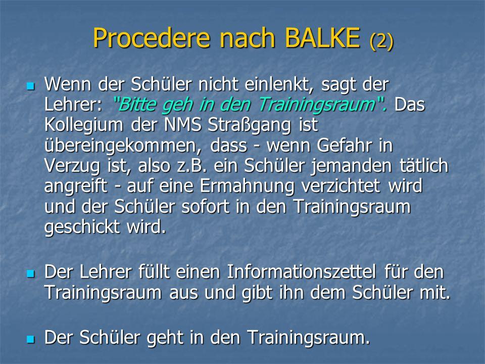 Procedere nach BALKE (2)
