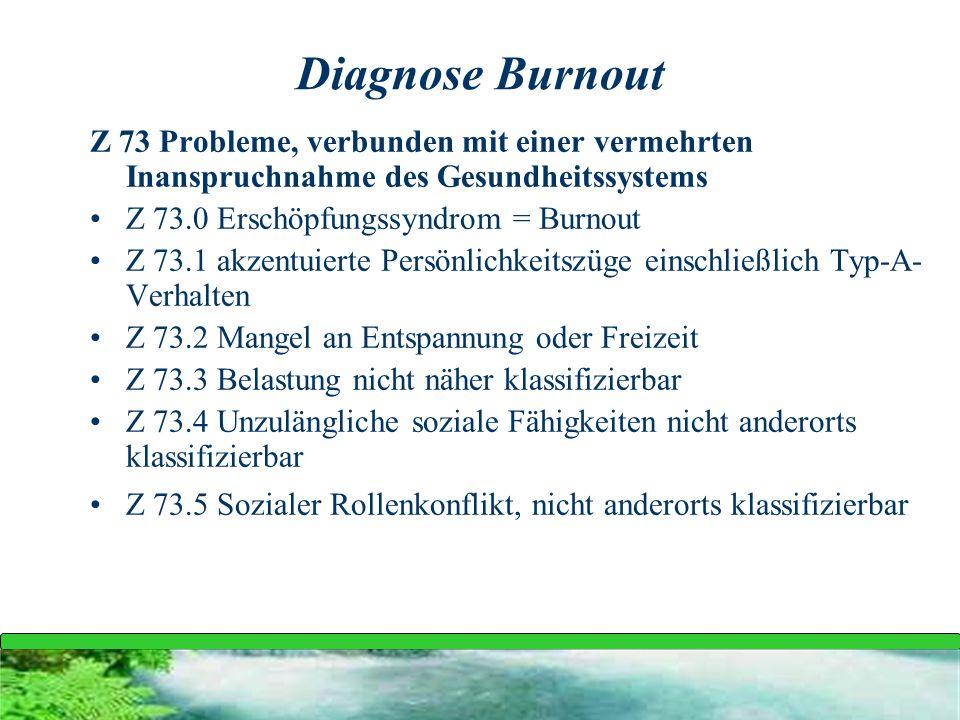 Diagnose Burnout Z 73 Probleme, verbunden mit einer vermehrten Inanspruchnahme des Gesundheitssystems.