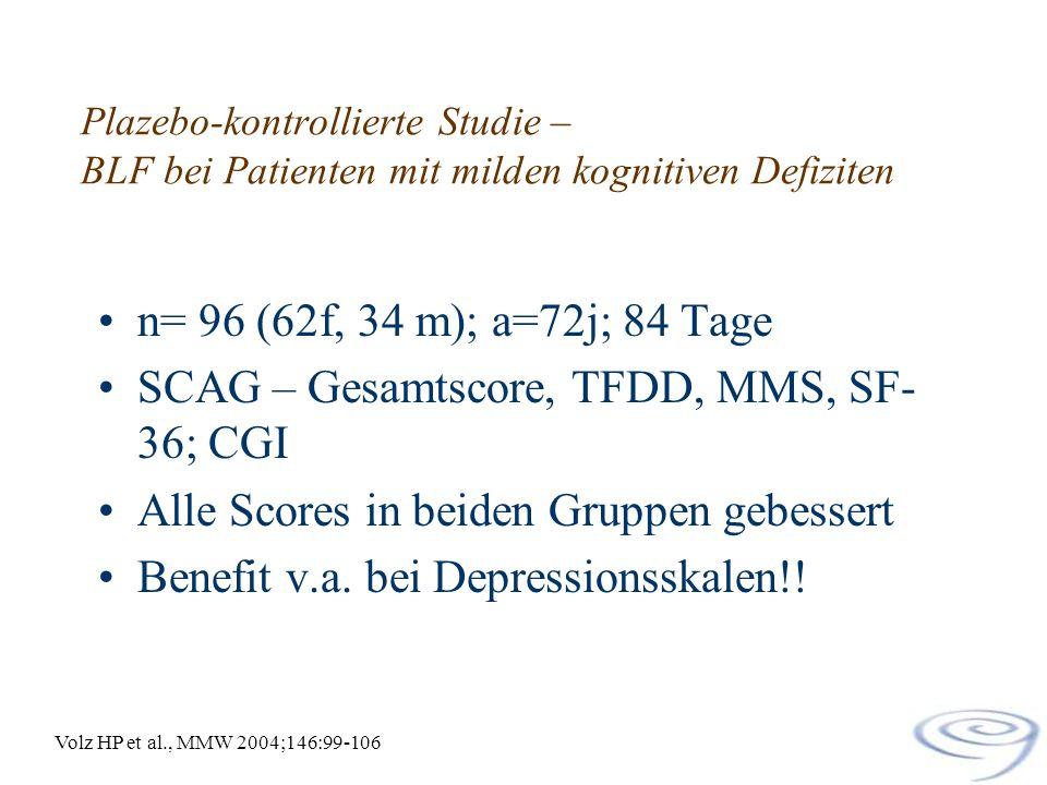 SCAG – Gesamtscore, TFDD, MMS, SF-36; CGI