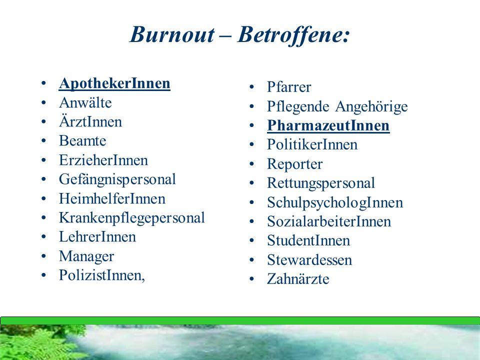 Burnout – Betroffene: ApothekerInnen Pfarrer Anwälte