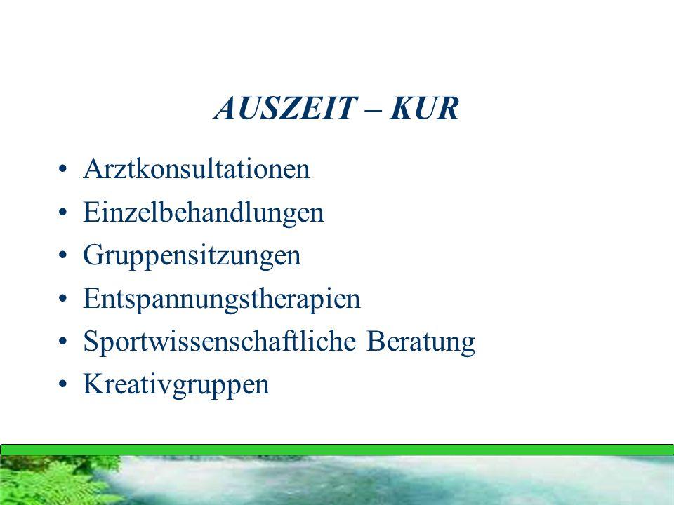 AUSZEIT – KUR Arztkonsultationen Einzelbehandlungen Gruppensitzungen
