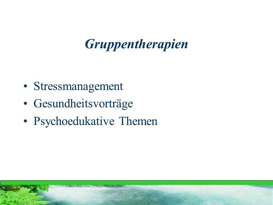 Gruppentherapien Stressmanagement Gesundheitsvorträge