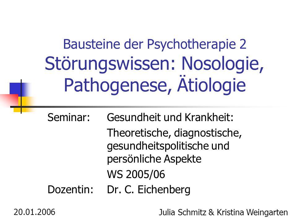 Bausteine der Psychotherapie 2 Störungswissen: Nosologie, Pathogenese, Ätiologie