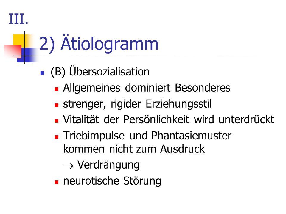 2) Ätiologramm III. (B) Übersozialisation