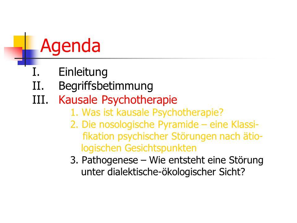 Agenda I. Einleitung II. Begriffsbetimmung III. Kausale Psychotherapie