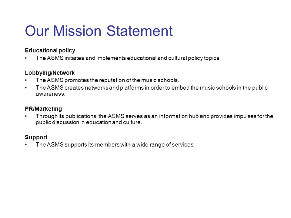 Our Mission Statement Educational policy