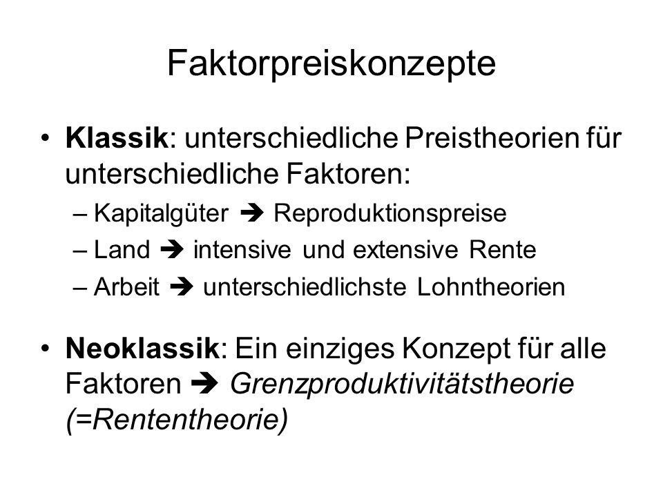 Faktorpreiskonzepte Klassik: unterschiedliche Preistheorien für unterschiedliche Faktoren: Kapitalgüter  Reproduktionspreise.