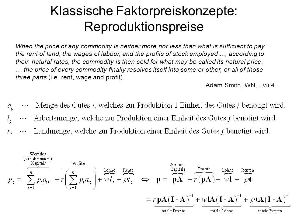 Klassische Faktorpreiskonzepte: Reproduktionspreise