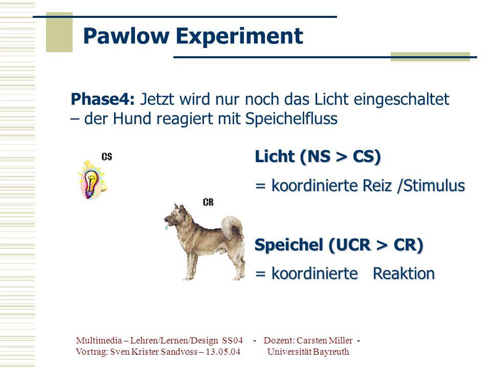 Pawlow Experiment Phase4: Jetzt wird nur noch das Licht eingeschaltet – der Hund reagiert mit Speichelfluss.