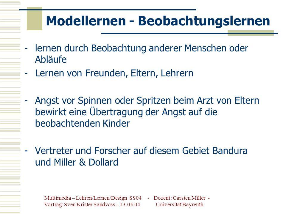 Modellernen - Beobachtungslernen