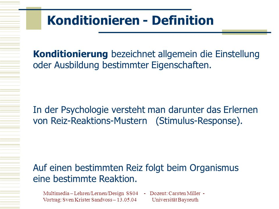 Konditionieren - Definition
