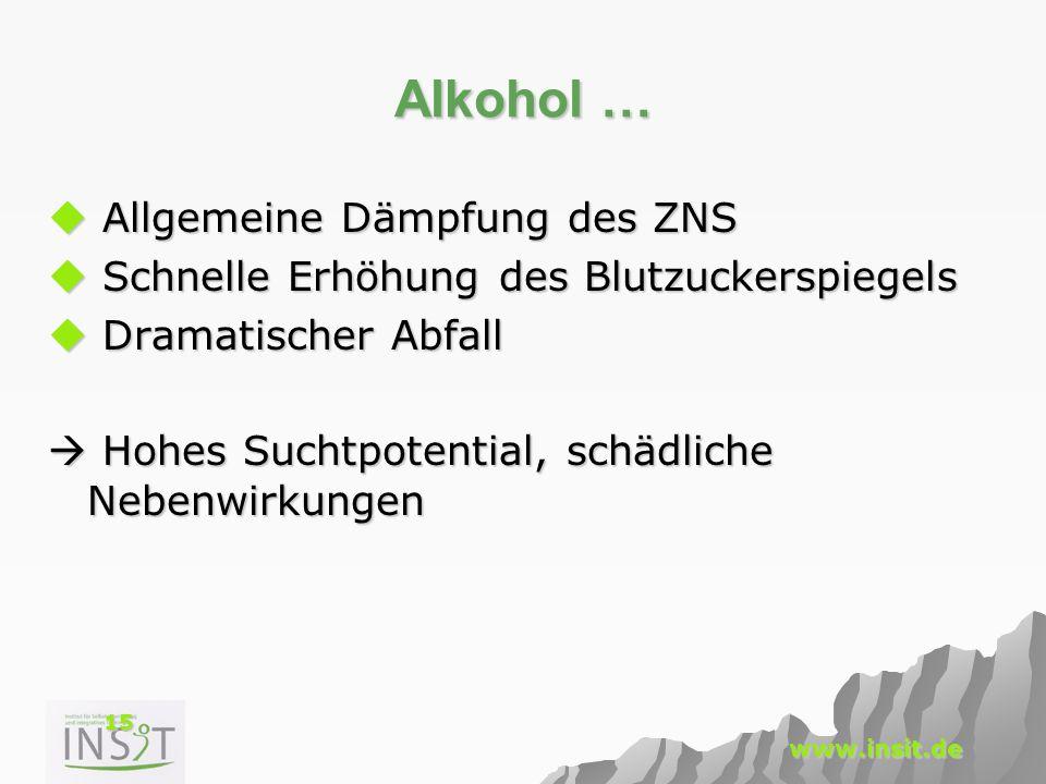Alkohol … Allgemeine Dämpfung des ZNS