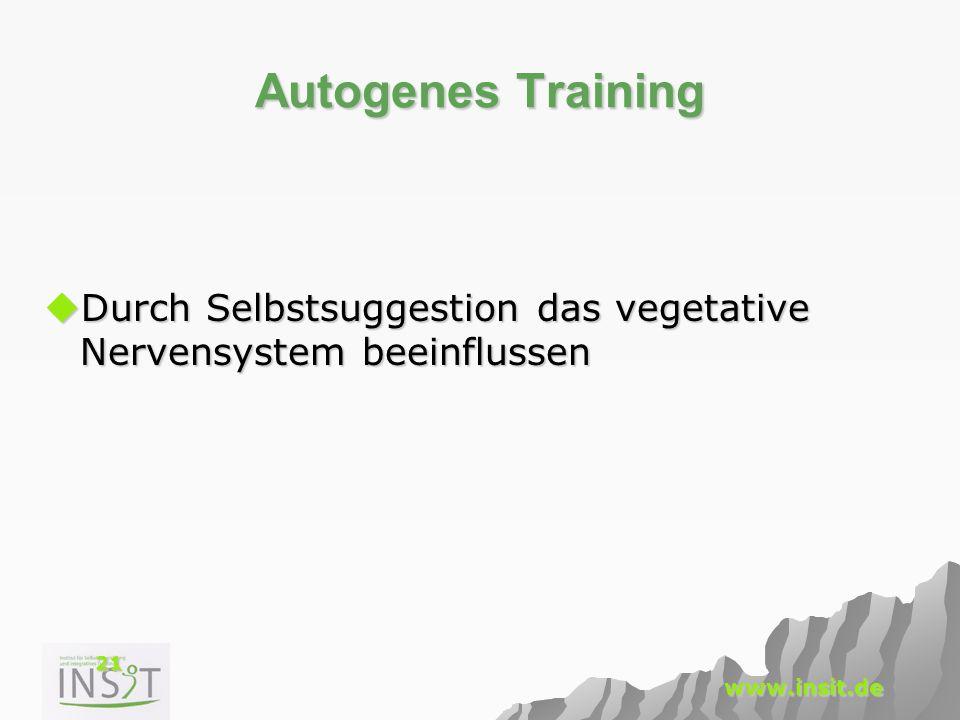 Autogenes Training Durch Selbstsuggestion das vegetative Nervensystem beeinflussen.