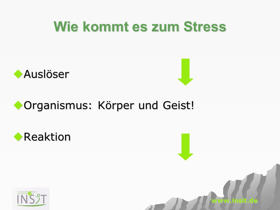 Wie kommt es zum Stress Auslöser Organismus: Körper und Geist!
