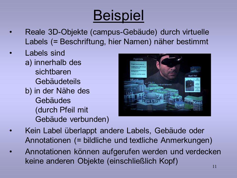 Beispiel Reale 3D-Objekte (campus-Gebäude) durch virtuelle Labels (= Beschriftung, hier Namen) näher bestimmt.