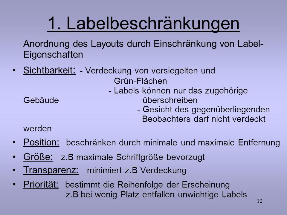 1. Labelbeschränkungen Anordnung des Layouts durch Einschränkung von Label-Eigenschaften.