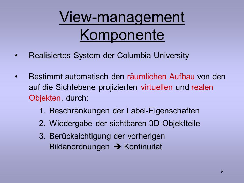 View-management Komponente