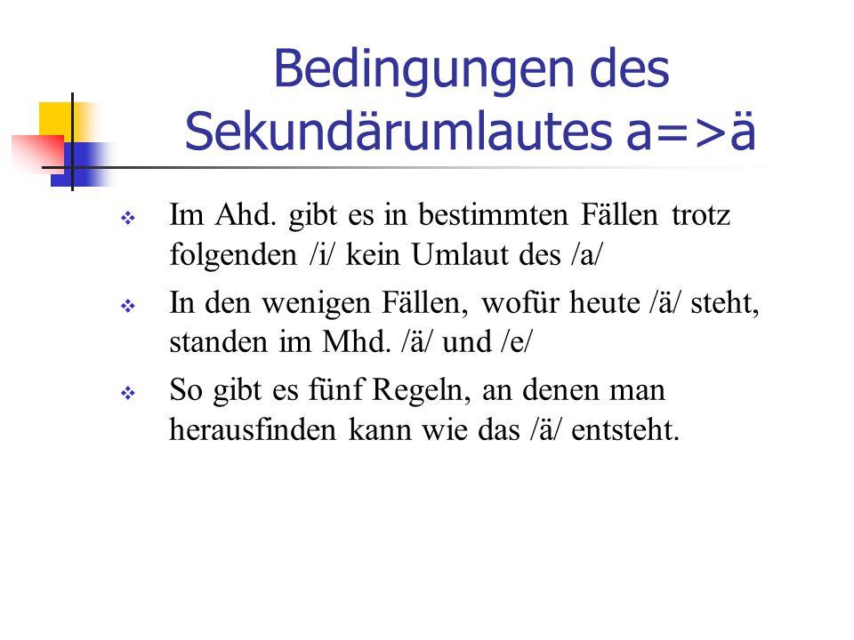Bedingungen des Sekundärumlautes a=>ä