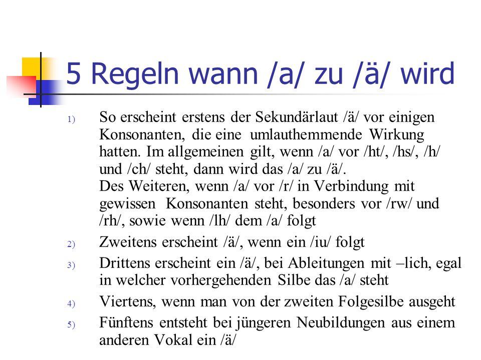 5 Regeln wann /a/ zu /ä/ wird