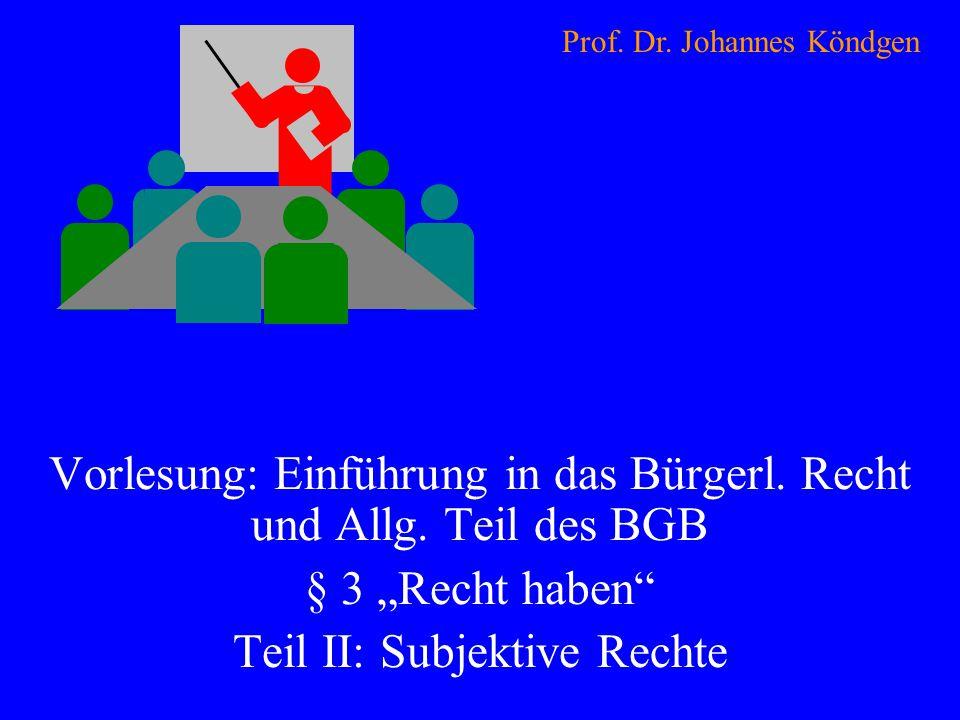 Vorlesung: Einführung in das Bürgerl. Recht und Allg. Teil des BGB