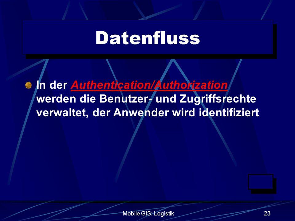 Datenfluss In der Authentication/Authorization werden die Benutzer- und Zugriffsrechte verwaltet, der Anwender wird identifiziert.