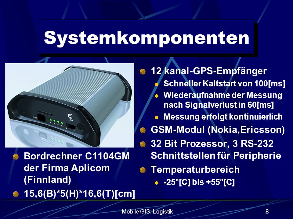 Systemkomponenten 12 kanal-GPS-Empfänger GSM-Modul (Nokia,Ericsson)