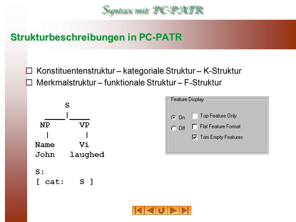 Strukturbeschreibungen in PC-PATR