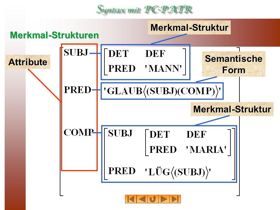 Merkmal-Strukturen Merkmal-Struktur Attribute Semantische Form Merkmal-Struktur
