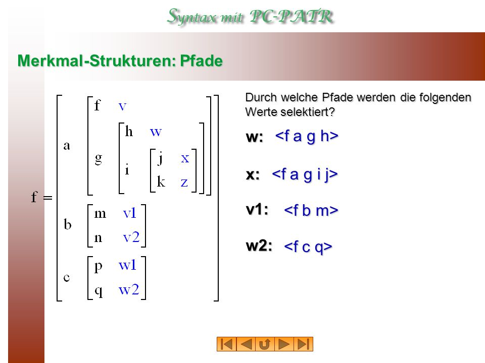 Merkmal-Strukturen: Pfade